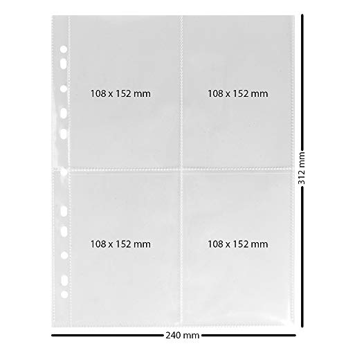 Ideen mit Herz Sammelhüllen | Klarsichthüllen | Prospekthüllen | DIN A4 | 4-geteilt | 4 Fächer je 10,8 x 15,2 cm | glasklar | 50 Stück | Fotohüllen | Postkartenhüllen