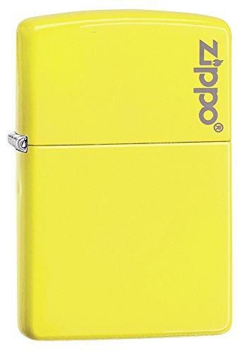 Isqueiro de bolso amarelo neon com logotipo Zippo