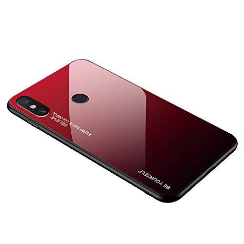 Alsoar Compatible para Xiaomi Mi MAX 3 Funda Silicona TPU Suave Bumper Protector Carcasas y Trasera Moda Colorido Degradado Cristal Templado Cubierta Fina Anti-Arañazos Caso Case (Rojo Negro)