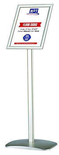 11x17 Advertising Display Floor Sign Holder with Snap Open Frame - Silver