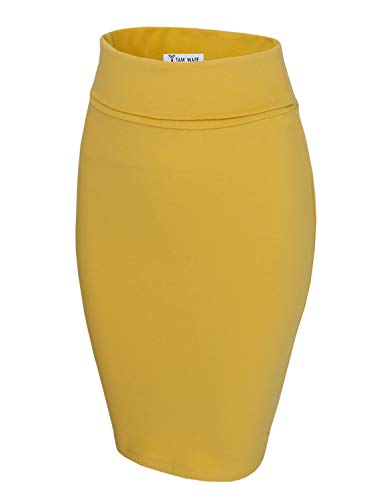 TAM WARE Womens Casual Convertible Knee Length Pencil Skirt TWCWS02-YELLOW-US S