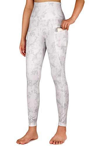 Free Leaper Leggings da Sportivi Fitness a Donna a Vita Alta per Il Controllo della Pancia dei Pantaloni da Yoga Stampa Fumo con Tasche (Nebbia di Fumo, S)