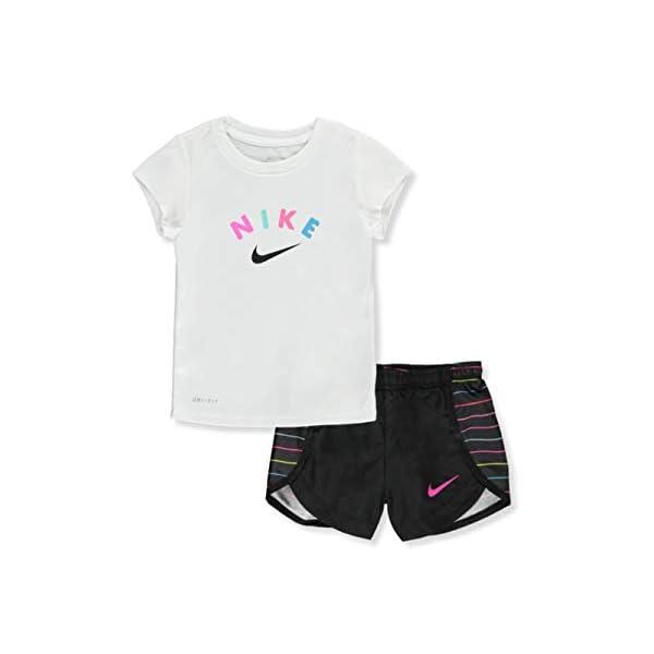 Nike Girl`s Graphic Print T Shirt & Shorts 2 Piece Set
