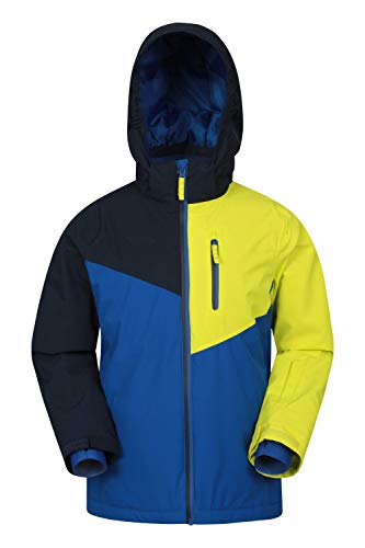 Mountain Warehouse Everest Kids Extreme wasserdichte Skijacke - atmungsaktiver Wintermantel für Jungen und Mädchen, versiegelte Nähte, abnehmbare Schneeschürze Gelb 9-10 Jahre