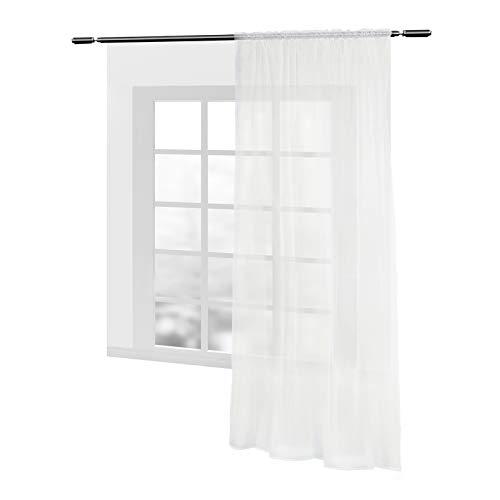 WOLTU VH5515cm, Gardinen Vorhang transparent mit Kräuselband Stores Voile für Schiene Fensterschal Wohnzimmer Schlafzimmer Landhaus 140x225 cm Creme (Beige), (1 Stück)