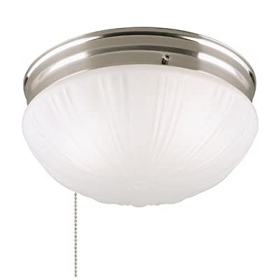 Westinghouse 6721000 Two-Light Flush-Mount Interior Ceiling Fixture with Pull Chain, Brushed Nickel Finish with Frosted Fluted Glass