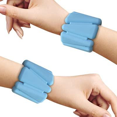 Dos pesas de muñeca para pulseras de entrenamiento de fuerza, pulseras de peso ajustables de silicona, adecuadas para pesas de tobillo/muñeca usables para yoga, danza, barba, pilates, etc., 2 libras
