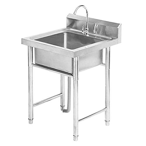 YWTT Fregadero de Mano Comercial para Cocina Fregadero de Mano Comercial para Lavar Platos con pies Ajustables y Grifo, Adecuado para lavaderos de restaurantes pequeños al Aire Libre, 1 mm de Gro