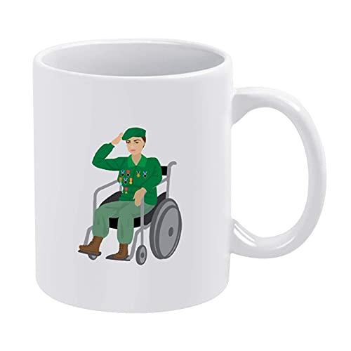 Taza de café divertida con diseño de veterano en silla de ruedas, para hombres, mujeres, niños, Navidad, para mujer, mujer, mujer, madre, abuela, maestro, amigas, cumpleaños, día de la madre P