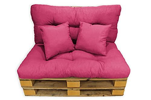 Acomoda Textil - Cojines Sofá Palets. Conjunto 4 Piezas para Palet, Asiento 120x80 cm + Respaldo + 2 Cojines. Cómodo y Elegante para Interior y Exterior. NO Incluye PALETS. (Fucsia)