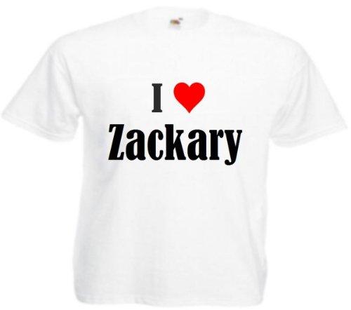 T-Shirt I Love Zackary Größe 2XL Farbe Weiss Druck Schwarz