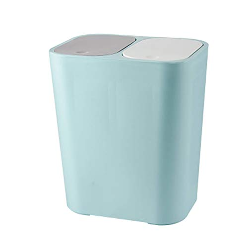 Alexsix Poubelle rectangulaire en plastique avec bouton poussoir double compartiment 12 litres pour le recyclage des déchets pour la maison, la cuisine, le salon, la chambre à coucher