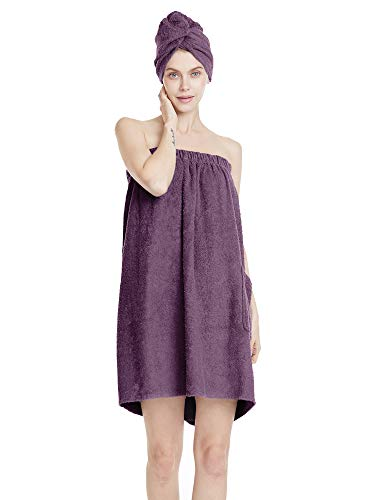 SIORO Womens Towel Wraps Bamboo Cotton Body Shower Wraps with Closure Hair Bath Wrap Set, Plush Absorbent Spa Gym Pool Towel Robe Sets, Plum Medium