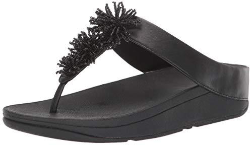 FitFlop Women's FINO Bead Pompom Sandal, Black, 9 M US