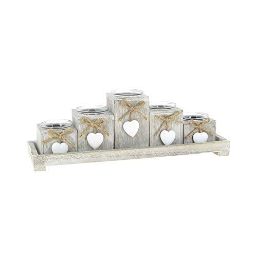 KONTARBOOR Portavelas Portavelas Portavelas Velas, Candelabro, Centro de Mesa, Velas de Navidad de madera gris claro compuesto de 6 piezas, bandeja y 5 velas con sus pequeños corazones colgados.