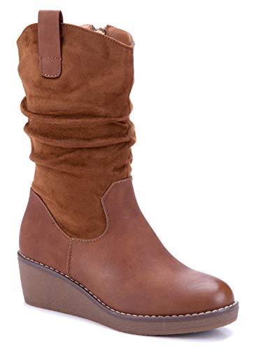 Schuhtempel24 Damen Schuhe Keilstiefel Stiefel Stiefeletten Boots Camel Keilabsatz 5 cm