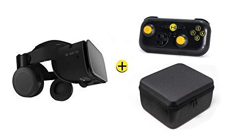 VR-SHARK X6 Gift-Set - Kit di realtà virtuale VR Headset + gamepad bluetooth + custodia | VR-Glasses per 4,7 - 6,2 Smartphone comp. con SAMSUNG   LUMIA   HUAWEI   SONY FOV 120° | 360° Viewer