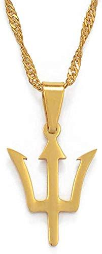 LBBYMX Co.,ltd Collar de Moda pequeño Mapa de la Isla de Barbados y símbolo de la Bandera Collares Pendientes Color Oro y Acero Inoxidable mapas de Barbados joyería