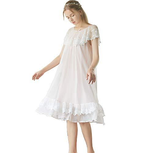 Flwydran Damen Nachthemd ,Dessous, Nacht Ärmellos Baumwolle mit Spitze Dekoration Nachtkleid Viktorianischer Stil Nachtwäsche