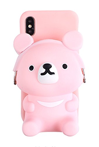 UnnFiko 3D Cartoon Pocket Case for iPhone X/iPhone Xs, Pink Cute Bear Purse Stand Holder, Squishy Soft Silicone Protective Phone Case for Girls Women (iPhone X/Xs)
