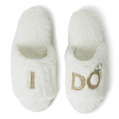 Dearfoams Women's Novelty Bridal Slide Slipper, Alabaster, Medium