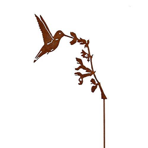 Hummingbird on Salvia, Steel Silhouette with a Rusty Patina