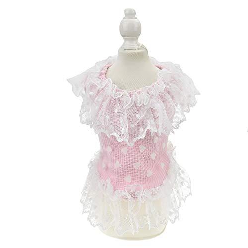 MuYaoPet Hochzeitskleid für Hunde und Katzen, mit großer Schleife, Rosa, L, rosa herz