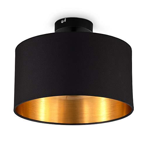 B.K.Licht I Lámpara de techo de tela negro-dorado I 1 foco I E27 I Ø 30 cm I No incluye bombilla