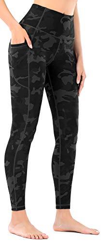 Leovqn Damen Sport Leggings Hohe Taille Blickdicht Yoga Hosen mit Taschen für Sports Laufen Joggen Training Freizeitkleidung Deep Coal Camo L