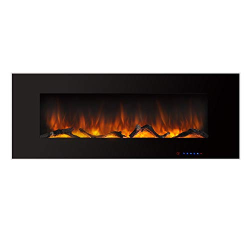 Valuxhome Electric Fireplace, 50 Inches Wall Mounted Fireplace with Overheating Protection, Thermostat, Timer & Remote, Log & Crystal, Touch Screen, 1500 750W, Black