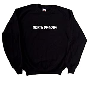 North Dakota text Black Sweatshirt  White print -XXX-Large