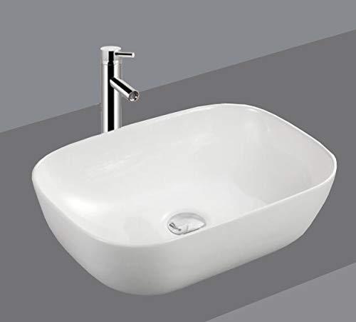 1 lavabo de cerámica ovalado rectangular pequeño lavabo de cerámica 46 cm L 33 cm B