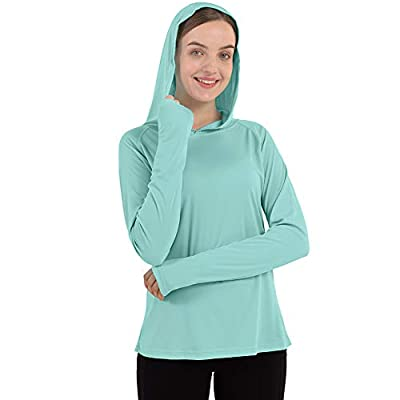BOSTANTEN Womens UPF 50+ Sun Protection T-Shirt Long Sleeve Dry Fit SPF Shirts Outdoor Hoodie Workout Hiking Surfing Tops Green Size XL