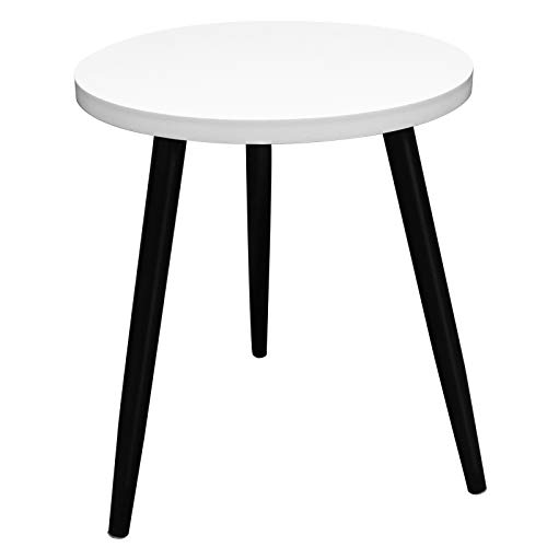 Small Round Coffee Table, White Wood Coffee Side Table with Sturdy Black Solid Wood Legs for Home, Living Room, Dining Room