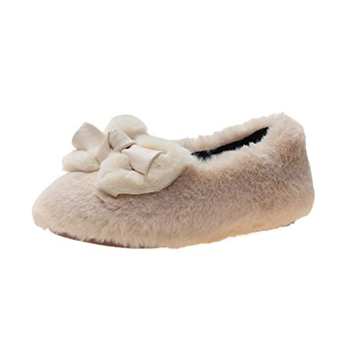 Babyschuhe Krabbelschuhe Prinzessin Schuhe Plus Samt Warm Baumwollschuhe HDUFGJ27 EU(Beige)