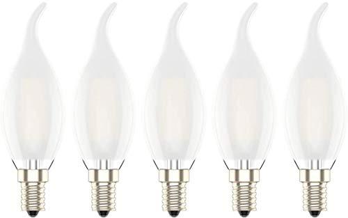 E14 4W Dimmbar Glühfaden LED Kerze Lampe,Filament Edison Birne,2700K Warmweiß 300 Lumen, Ersatz für 30W Glühlampen,Matt Glas,AC 220V,Pack of 5