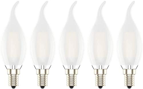 Lampadina LED E14 Dimmerabile Candela Filamento 4W Luce Bianca Calda 2700K,4W Equivalenti a 30W,300LM,AC 220 V,Confezione da 5