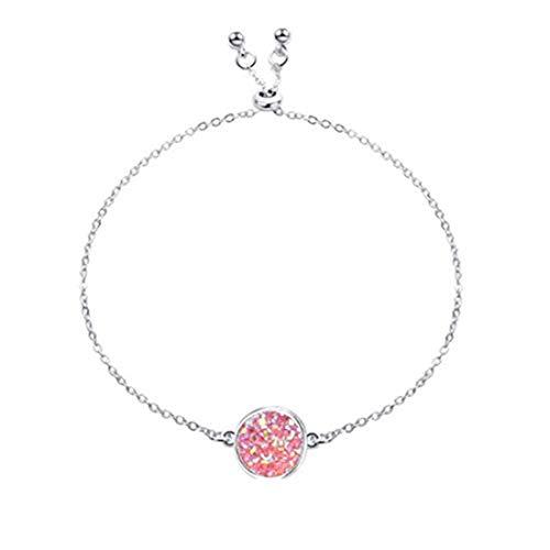 Pulsera de piedra ajustable para mujer, joyería de mano (plata + rosa).