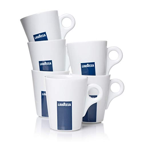 Lavazza Blu Collection Kaffeebecher, 6er Pack, Kaffeetasse, Becher, Tasse, Porzellan, Weiß, 350ml