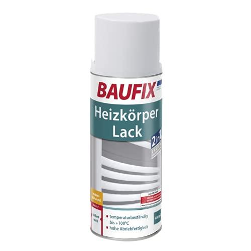BAUFIX Heizkörperlack-Spray, weiß, 400ml, seidenglänzend, temperaturbeständig bis 100°C, kratzfest, stoßfest, schlagfest