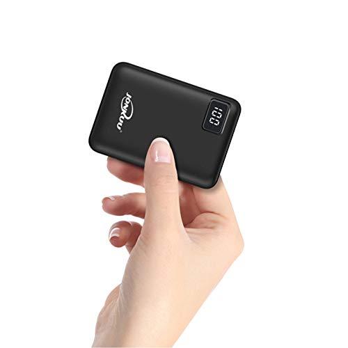 Batterie Externe 10000mAh Mini Ultra Compact Power Bank 2 USB Ports de 2.4A Charge Rapide et Ecran LCD Batterie de Secours Chargeur Portable Universel pour iPhone x 6 6s 7 8 iPad Huawei Samsung (Noir)