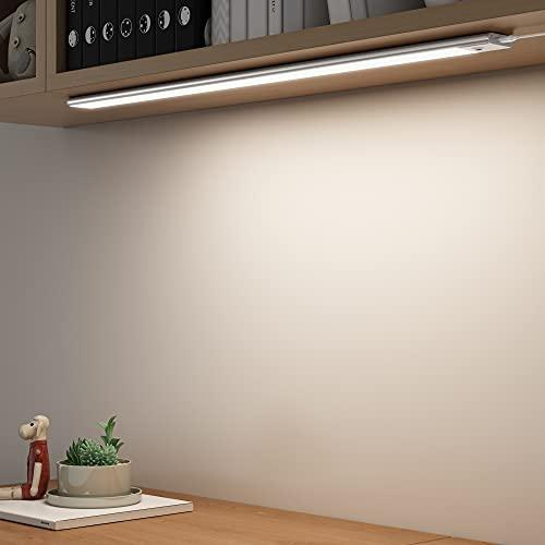 SOAIY 60cm Luz bajo mueble cocina con sensor movimiento de la mano, Iluminacion ajustable led cocina bajo mueble, luz cocina bajo armario con modos 3 colores