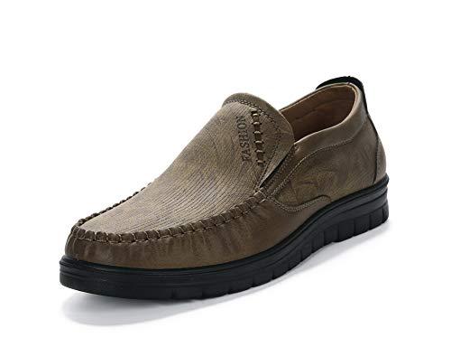 Zapatos de para Mocasines Hombres Cuero Conducción Cómodos Antideslizantes Negocios Trabajo Zapatos Pisos (Amarillo 1, Numeric_46)