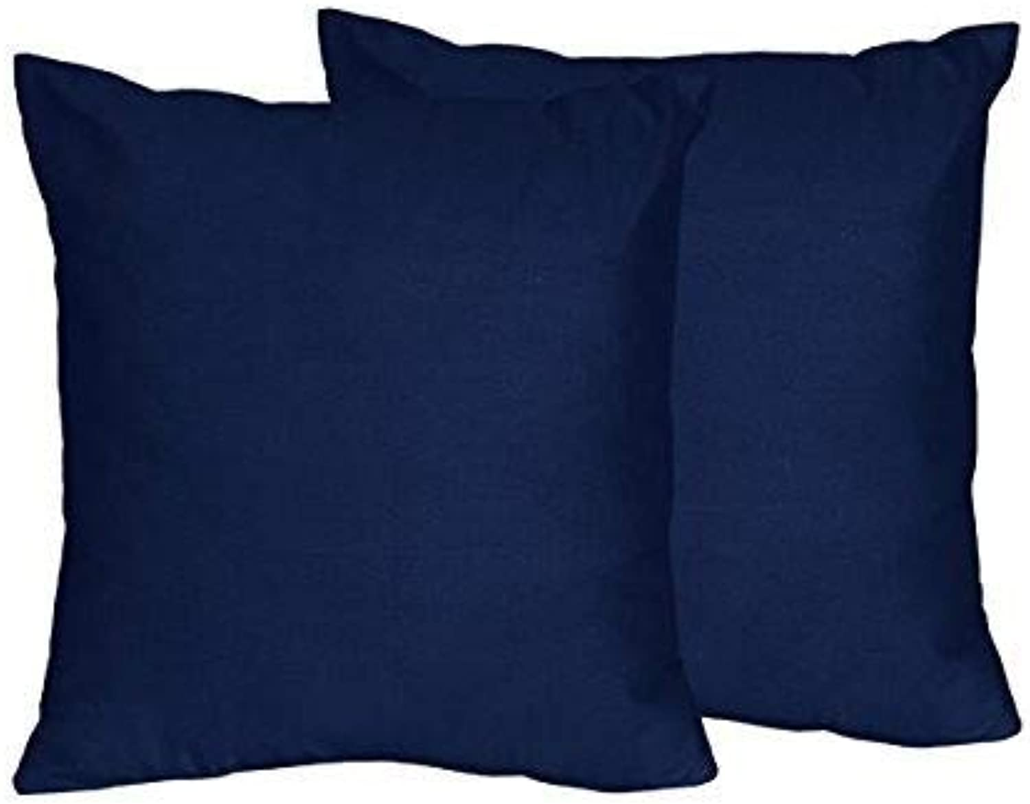Sweet Jojo Designs 2-Piece Solid Navy bluee Decorative Accent Throw Pillows for Navy and Lime Stripe Collection