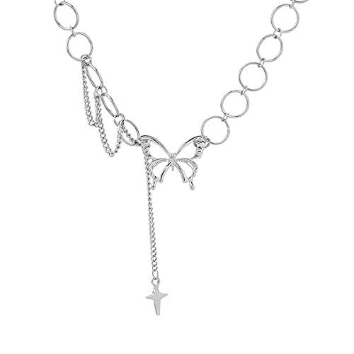 Collar De Mariposa Mujer Ins Hip Hop Cadena De Clavícula Luz Accesorios De Diseño De Lujo Joyería De Tendencia De Verano