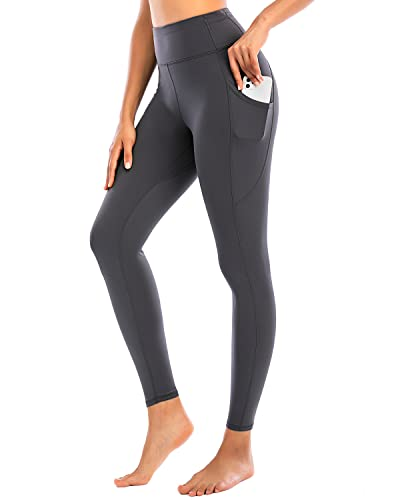 RUNNING GIRL Buttery Soft Leggings with Multi Pockets, High Waist Yoga Tights for Active Women Workout Gym(CK2710_Grey_S)