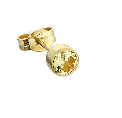 Pendientes NKlaus de oro 333 8 quilates 4,50mm de zirconia amarilla mujeres hombres niños 6715