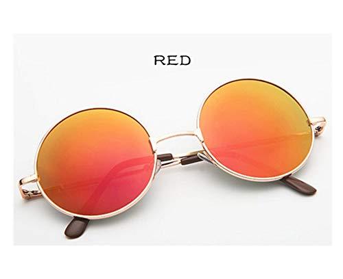 Sunwd Gafas de Sol, Vintage Round Sunglasses For Women Men Designer Mirrored Glasses Retro Female Male Sun Glasses Men's Women's gold red