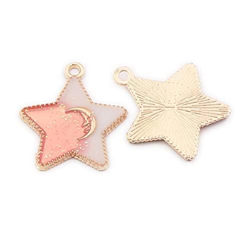 LLBBSS 10 colgantes de metal con forma de estrella y luna de Pentágono, colgantes pequeños y colgantes de aleación de oreja