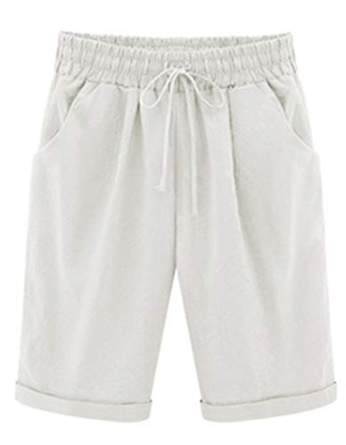 Elonglin Shorts Uni-Couleur avec élastique Ceinture de Pantalon Bermuda Femme en Coton Coupe Large Poche Casual Eté Loisir Quotidien Blanc Taille FR 52 (Asie 7XL)